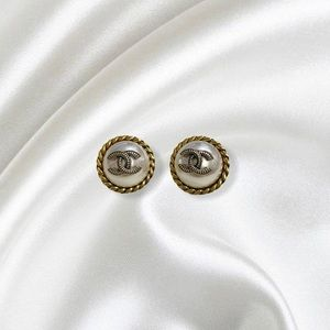 REWORKED VINTAGE COCO CHANEL BUTTON STUD EARRINGS